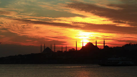 4K Time Lapse of Istanbul. Sarayburnu at sunset in Istanbul, Turkey Footage