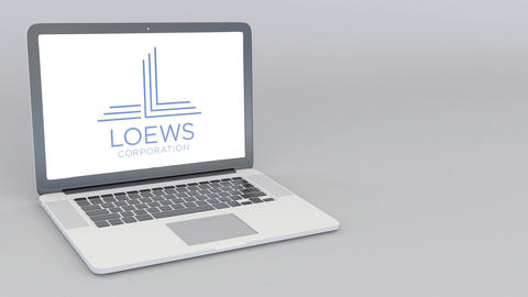 Opening and closing laptop with Loews Corporation logo. 4K editorial animation Live Action