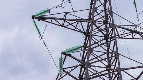 Electric support close-up. Transmission of electricity by wire. Energy industry Live Action