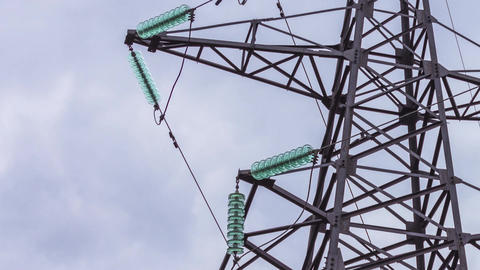 Support high voltage power lines. Energy industry, electricity generation, Footage