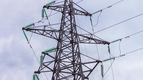 Electrical supports and power lines. Energy industry. Production and Footage