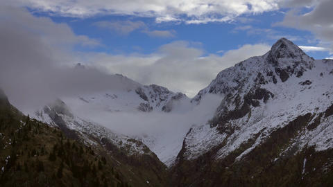 Mountains in clouds landscape in alps, Italy Footage