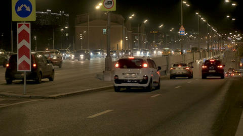 Intensive traffic of cars, along city streets Live Action