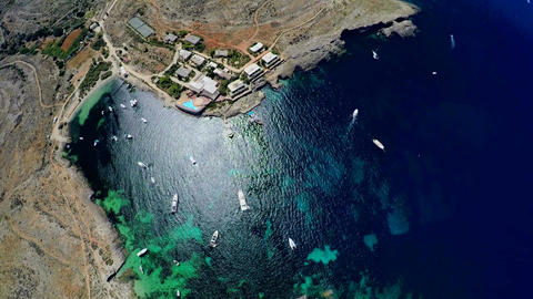 Aerial view of the picturesque sea coast. Malta Footage