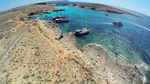 Yachts in Comino Island, Malta. Aerial view Live Action