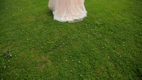 red-haired bride in a lavish dress walks along the green grass against the Live Action