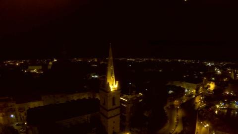 Night city from a bird's-eye view. Aerofutazh. Malta Live Action