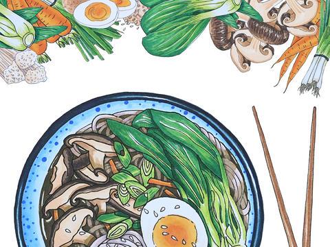 Hand Drawn Soba Noodle Soup | Horizontal display Foto
