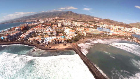 Aerial view of a beach hotel in Tenerife GIF