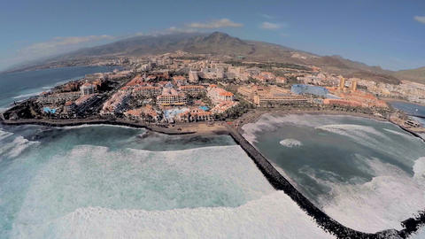 Aerial view of a beach hotel in Tenerife Footage