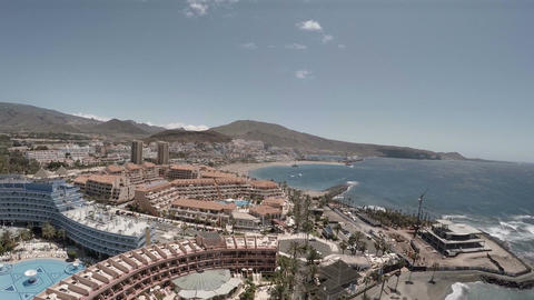 Playa de las Americas in Tenerife, Aerial viewwonderful holiday in Tenerife Footage