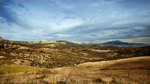 Time Lapse, Cloudy Sky Over Andalusian Landscape, Spain ビデオ