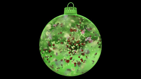 Christmas Rotating Green Ice Glass Bauble Decoration colorful alpha matte loop Animation
