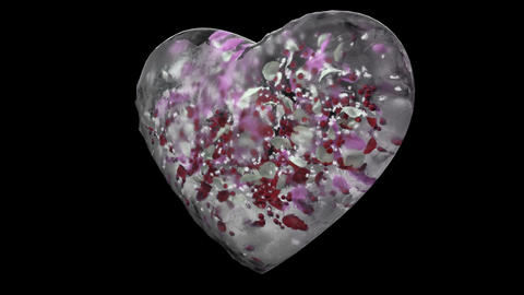 Rotating White Ice Glass Heart with snowflakes, colorful petals Alpha Matte Loop Animation