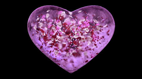 Pink Ice Glass Heart with snowflakes and colorful petals Alpha Matte Loop 4k Animation