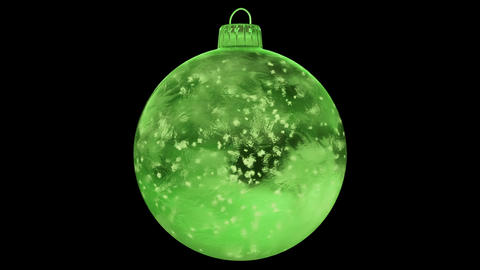 Christmas Rotating Green Ice Glass Bauble Decoration snow alpha matte loop 4k Animation