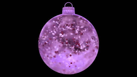 Christmas Pink Ice Glass Bauble Decoration snow red balls alpha matte loop Animation
