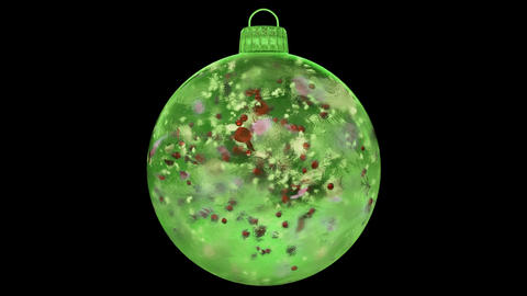 Christmas Green Ice Glass Bauble Decoration colorful petals alpha matte loop Animation