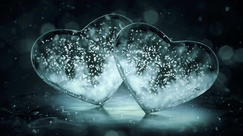 Two Grey Noir Ice Glass Hearts with snowflakes inside motion background Loop 4k Animación