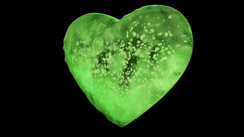 Rotating Green Ice Glass Heart with snowflakes inside Alpha Matte Loop 4k Animation