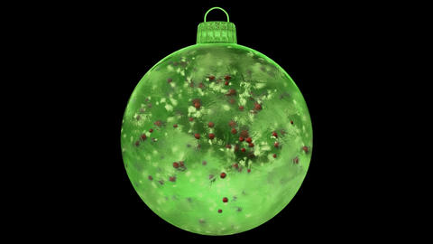 Christmas New Year Green Ice Glass Bauble Decoration red balls alpha matte loop Animation
