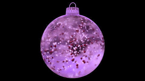 Christmas Rotating Pink Ice Glass Bauble Decoration red balls alpha matte loop Animation