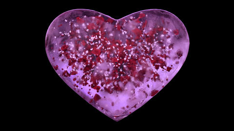 Pink Ice Glass Heart with snowflakes and red petals Alpha Matte Loop 4k Animation
