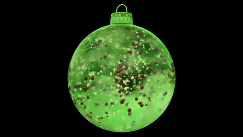 Christmas Rotating Green Ice Glass Bauble Decoration red balls alpha matte loop Animation