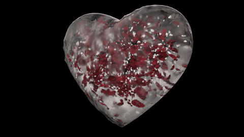 Rotating White Ice Glass Heart with snowflakes, red petals Alpha Matte Loop 4k Animation