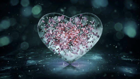 Grey Noir Ice Glass Heart with colorful petals inside motion background Loop 4k Animation