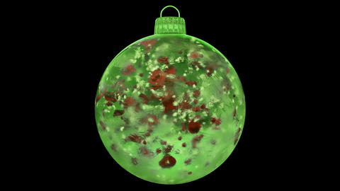 Christmas Green Ice Glass Bauble Decoration red petals alpha matte loop 4k Animation