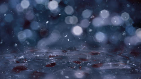 Winter Motion background blue lights snow falling on ice defocused bokeh loop 4k Animation