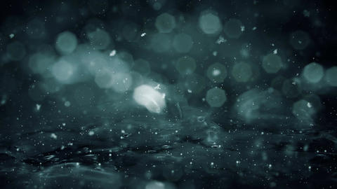 Winter Motion background noir lights snow falling on ice defocused bokeh loop 4k Image