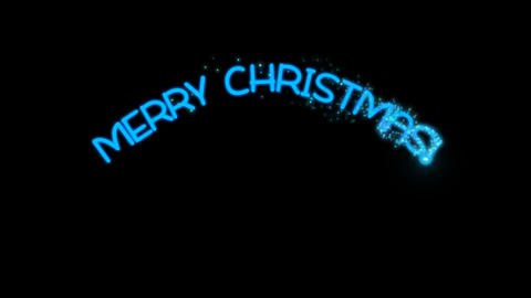 Merry Christmas - sparkler text animation in blue with alpha channel, 4k Animation