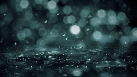 Winter Motion background noir lights snow falling on ice defocused bokeh loop 4k CG動画素材