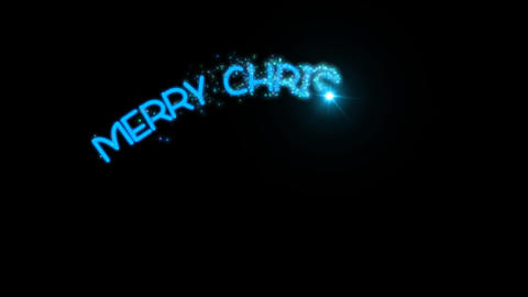 Merry Christmas - sparkler text animation in blue with alpha channel CG動画素材