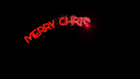 Merry Christmas - sparkler text animation in red with alpha channel, 4k Animation