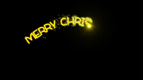 Merry Christmas - sparkler text animation in yellow with alpha channel, 4k Animation