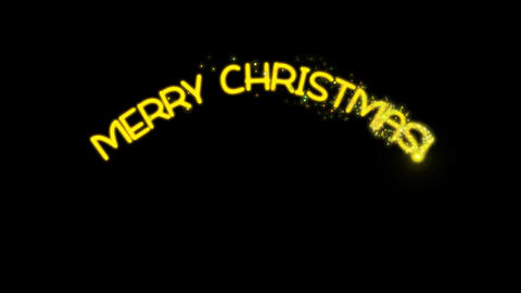 Merry Christmas - sparkler text animation in yellow with alpha channel Animation