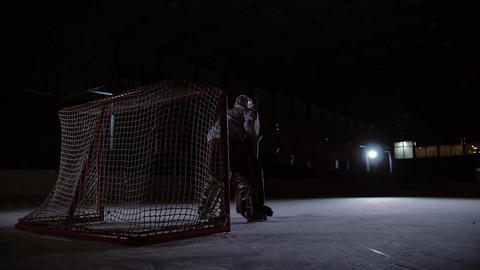 Professional hockey players play the shootout. The player who takes the penalty Footage