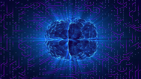 Blue glowing brain wired on neural surface or electronic... Stock Video Footage