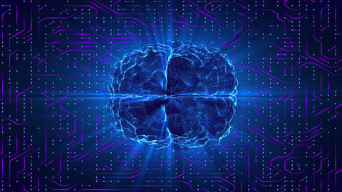 Blue glowing brain wired on neural surface or electronic conductors. Artificial Animation