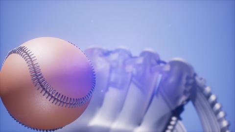 4K Super slow motion Baseball and mitt at blue sky background ビデオ