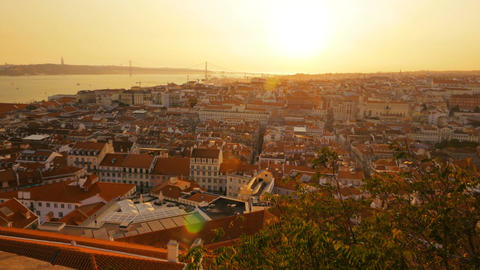 Panoramic view of Lisbon, Portugal Footage