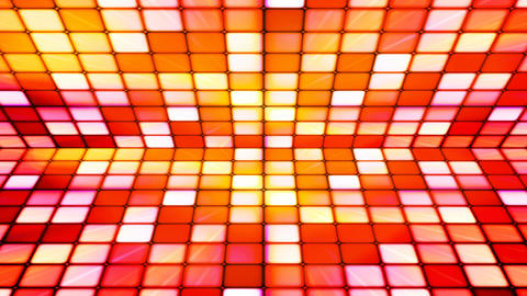 Broadcast Twinkling Hi-Tech Cubes Stage, Red Orange, Abstract, Loopable, 4K Animation