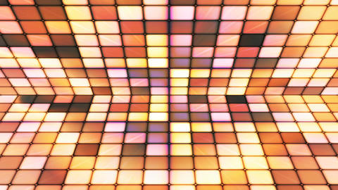 Broadcast Twinkling Hi-Tech Cubes Stage, Yellow Brown, Abstract, Loopable, 4K Animation