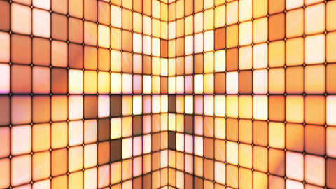 Broadcast Twinkling Hi-Tech Cubes Walls, Brown Yellow, Abstract, Loopable, 4K Animation