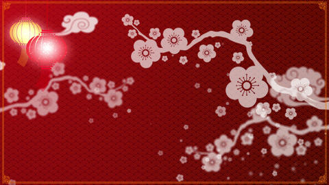 Chinese New Year background with cherry blossom Animation