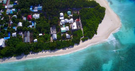 v11589 maldives white sand beach tropical islands with drone aerial flying birds Footage