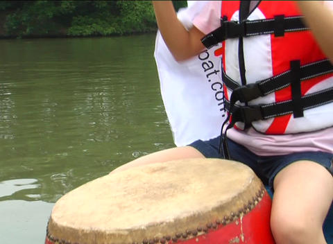 Beating drums on a dragon boat Stock Video Footage